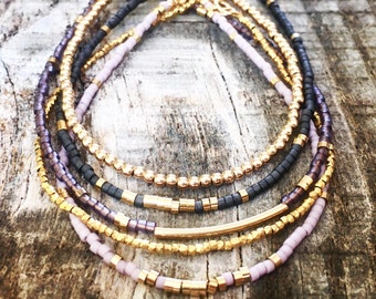 Violet, Lavender, Grey, and Gold Bracelet Stack