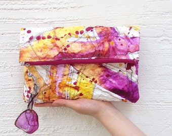 Mini clutch(violet)/tyvek/ fold/ unique bag