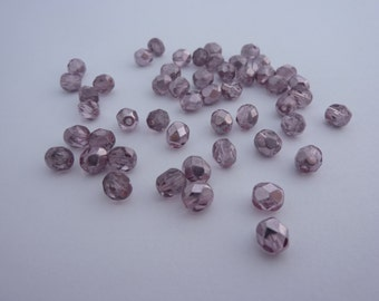 6mm Fire Polished Beads Metallic Mirror Coated Pink x 50