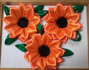 """Picture of satin ribbons """"Sunflowers"""""""