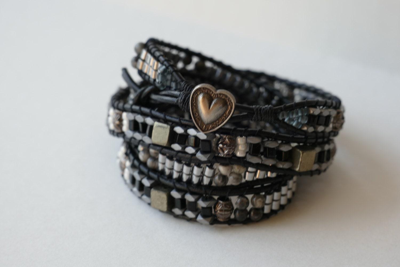 four wrap beaded leather wrap bracelet mixed metal wrap