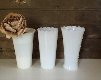 3 Medium Vintage Milk Glass Vases