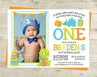 Dinosaur Birthday Invitation - Boy's Birthday Invite - DIGITAL FILE - Photo Dinosaur Invitation Printable 1st Birthday