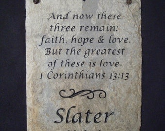 Slate Family Name Plaque with Bible Verse
