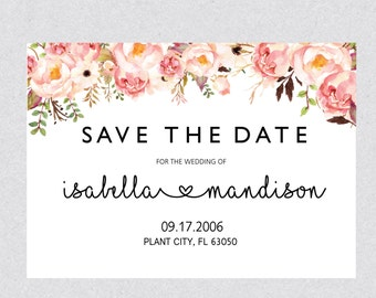 Printable Save the Date template Card, Floral Save the Date Invitation, Rustic Save the Date Instant Download MS Word BSB057