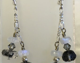 Rutilated Quartz and moonstone earrings