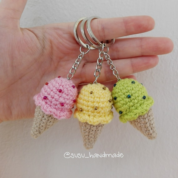 Ice Cream Keychain Amigurumi Keychain by SuSuHandmade on Etsy