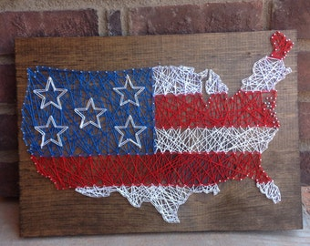 USA String art american flag wood sign forth of july decorations home decor red white and blue stars and stripes wooden independence day 4th