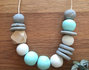 Polymer Clay Bead Necklace. Mint, White, Granite, Timber