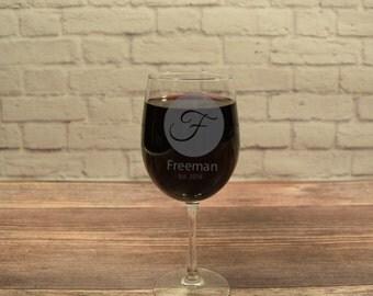 Custom Wine Glasses, Personalized Wine Glass, Monogram Wine Glass, Etched Wine glass, Wine Gift, Anniversary Gift, Wedding Gift