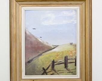 "Framed Hillside Acrylic Painting // Original ""Homestead"" Vintage Painting"