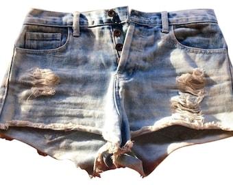High-Waisted Cutoff Jean Shorts