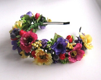 Floral crown Flower headband Hair Vine Bridal headband Flower crown Flower wreath Hair band Headwear Festival Garland Wedding circlet