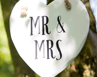 Mr and Mrs Hanging Heart Plaque