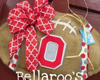 Ohio State burlap football door hanger Big 10 football Ohio State Buckeyes The Ohio State