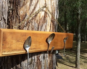 rustic and quirky 3 cutlery hook coat / key rack