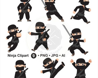 Ninja Clipart,cartoon ninja clipart,ninja clipart,digital download