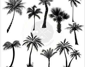 Palm Tree Silhouettes Clipart.palm tree clipart,tree clipart,silhouettes clipart,digital download