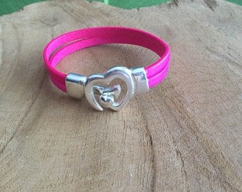 Fluo pink leather bracelet / gift idea for Christmas