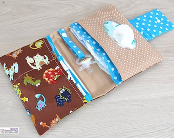 Diaper bags diaper bags baby care in Brown turquoise with colorful Dinos
