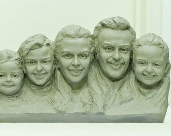 Custom Five Heads Clay Sculpture