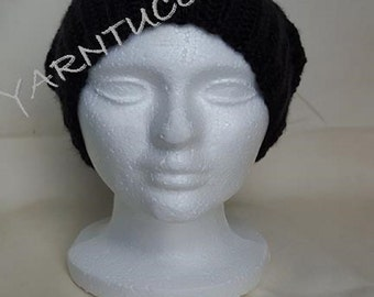 Black Slouchy Hat- Adult Medium