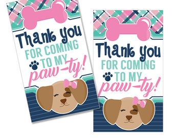 Posh Puppy Digital Girls Birthday Party Printable Puppy Dog Pawprint Thank You Favor Tags INSTANT DOWNLOAD