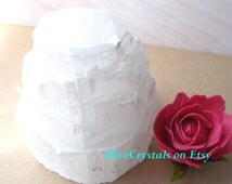 Pillar Candle Holder, Selenite Candle Holder Centerpiece Large White Candle Stand for Wiccan Altar Spiritual Meditation, Space Cleansing, uk