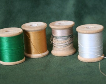 Vintage Thread on Wooden Spools, Wood spools for crafts