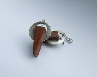 Wood with Silver earrings