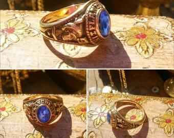 Jostens Gold Ring 10k Blue Stone Indians 1971 Flandreau South Dakota Estate Jewelry Class Ring
