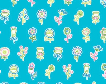 Summersault by Erin McMorris for Free Spirit, Pattern #EM-30 Flowerpop in Aqua, Modern Multi Colored Flowers on Turquoise, By the HALF Yard