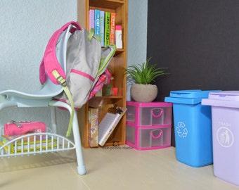 "American Girl 18"" Doll Size Mini Trash Recycle Can Bin Waste Basket Set (for Dollhouse Classroom Kitchen Bathroom or Barbie)"