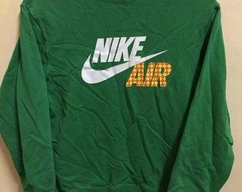 Vintage 90's Nike Air Green Classic Design Skate Sweat Shirt Sweater Varsity Jacket Size M #A96