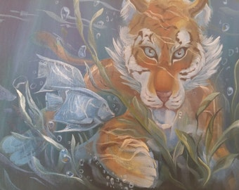 "oil painting ""Tiger Under the water"""