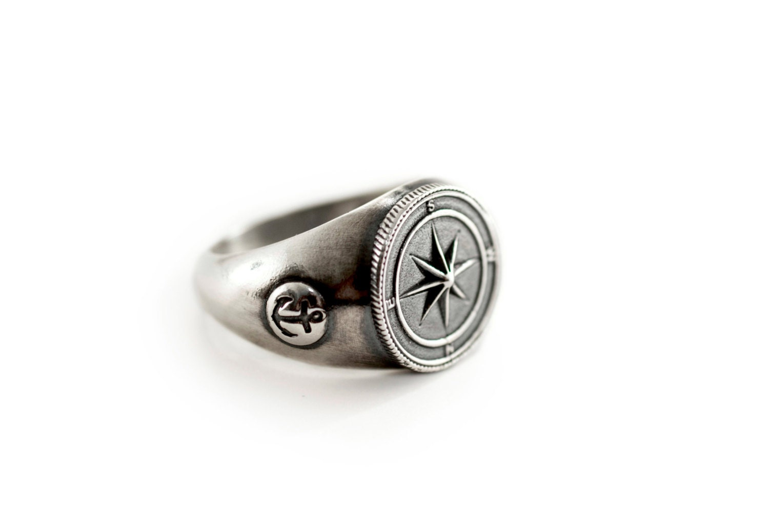mens silver ring mens signet nautical jewelry mariner s