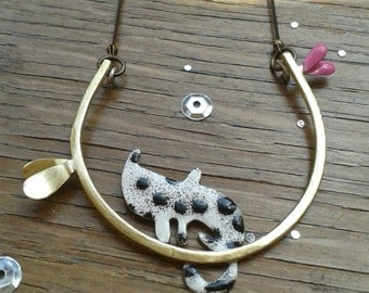 Cat Necklace, Cat Jewellery, Enamel Necklace, Animal Necklace, Gift for her, Romantic Jewellery, Modern Jewellery, Colourful Necklace