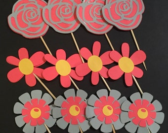 Spring Flower Cupcake Toppers