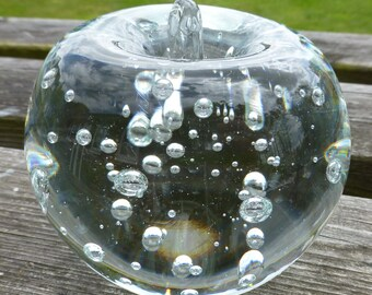 Transparent Clear Glass Apple shaped with controlled bubbles paperweight