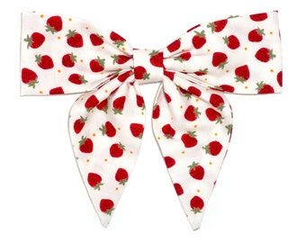 Strawberry white and red patterned Hair Bow with elastic tie/Clip fastening
