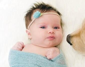 Baby Blue Rosette Headband