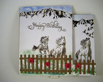 Horse Birthday Card, Horse Lovers Birthday Card, Equestrian Card, Side Step With A2 Panel Style Card, Horse Lovers Card