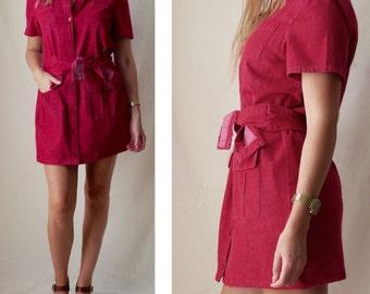 Short shirt dress / Red shirt dress with matching belt / Vintage clothing / Medium / UK 10 12 / US 6 8 / EU 38 40