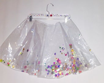 Quirky Remix Clear Skirt with Sequins