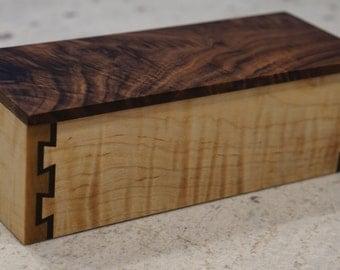 Walnut and maple jewelry box