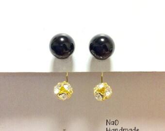 Onyx × Crystal Earrings