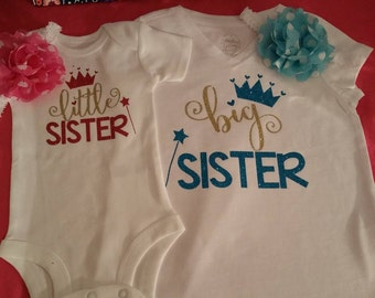 Little/Big Sister Shirts with matching headbands (2 shirts)
