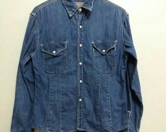 Vintage 45rpm shirt button denim/blue/medium