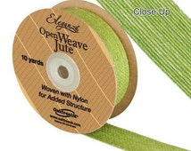 Full Roll Open Weave Jute Ribbon x 10yds - Pistachio Green - Crafts, Vintage Wedding, Gifts, Bows