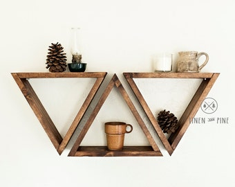Set of 3 Triangle Wall Art Shelves - Stained Pine